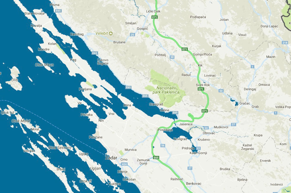 Mapa Chorvatska Automapa Chorvatska Novalja